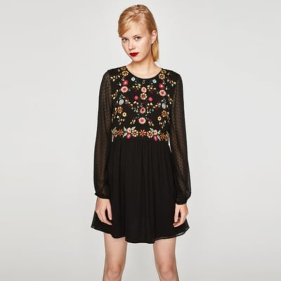 Zara Dresses Embroidered Dot Mesh Dress Black Poshmark
